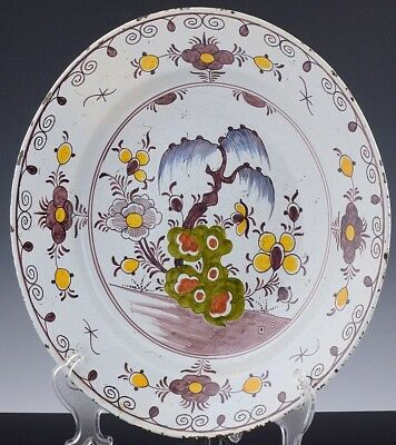 RARE 18thC ENGLISH OR DUTCH DELFT TIN GLAZED EARTHENWARE DEEP CHARGER PLATE BOWL