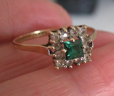 Beautiful Art Deco Emerald & Diamond Paste 9Ct Gold Ring - Charles Lyster & Sons