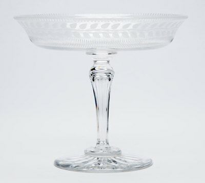 Antique Garland Engraved Glass Tazza 19Th C