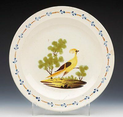 Antique English Creamware Plate With Strutting Bird Design 18Th C