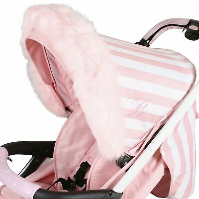 My Babiie Baby Pram / Stroller / Pushchair Elasticated Hood Fur - Pink