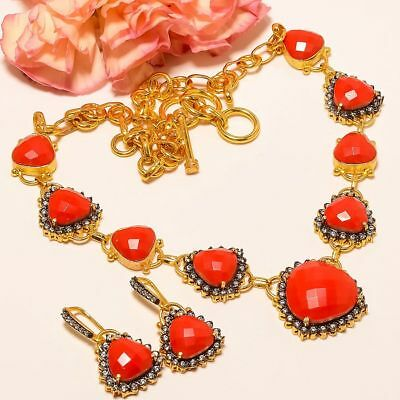 """Italian Coral, White Topaz Gold Plated Handmade Necklace 17.99""""& Earring (70)"""