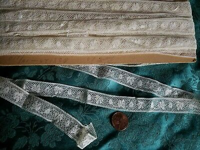 Thin Antique French Val lace Vintage  trim  cotton 10 yards  old stock