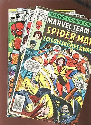 Marvel Team-Up 59, 60, 61, 62 * 4 Book Lot * Wasp, Ms Marvel & Human Torch!!!