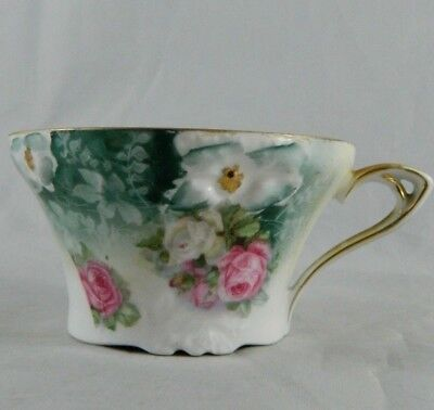 Antique RS Prussia Floral Embossed Hand-painted Teacup Cup Circa 1905 Red Mark