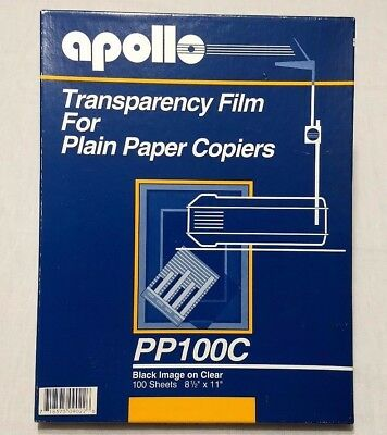 Apollo Transparency Film for Plain Paper Copiers PP100C Black Image on Clear