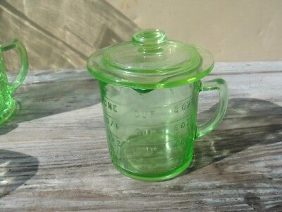 Vintage Hazel Atlas Green Depression Glass Measuring Cup With Htf Lid