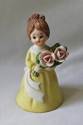 Gorgeous Vintage C1960's Matt Porcelain China 'woman With Flowers' Bell  #17