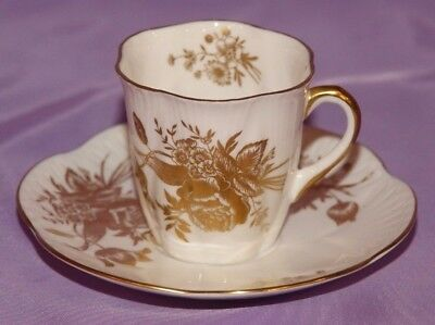 Tiny Shelley Demitasse Fine Bone China Teacup & Saucer Duo FLOWERS OF GOLD 14187