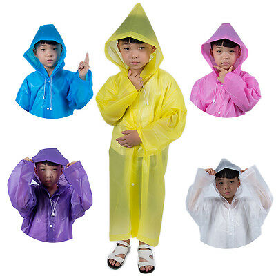 Kids Girl Boy Hooded Jacket Rain Poncho Raincoat Cover Long Rainwear Poncho