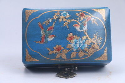 Collectibles Vintage painted flower & bird Wooden Jewelry box AC124