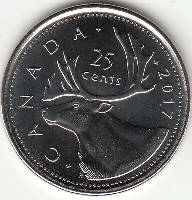 2017 Canada 25-Cents Caribou UNC From Roll