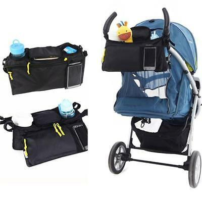 Buggy Baby Pram Organizer Bottle Cup Holder Stroller Caddy Storage Bag Black JA