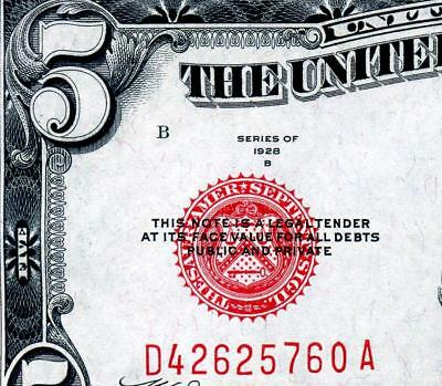 HGR 1928B $5 RED Seal ((Tough Series)) Appears CHOICE UNCIRCULATED