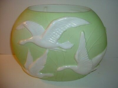Phoenix Glass Green with Pearlized Flying Geese Vase