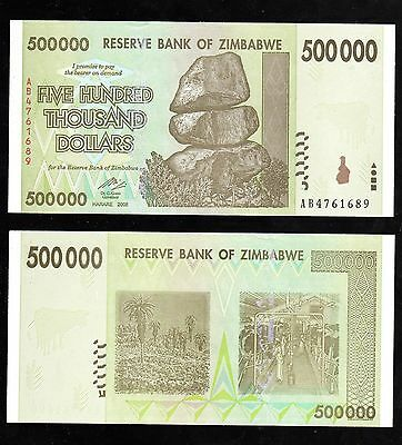 Zimbabwe In Africa,rare Denom,prefix Ab,1 Note Of 500000, 2008 Aunc From Bundle