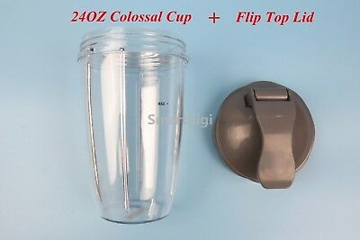 24 Oz Colossal Cup + Flip Top Lid Fit All Nutribullet 600 900 Series-Au