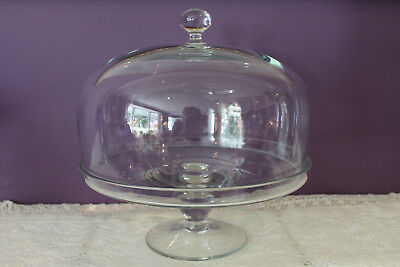 Glass Dome Covered Pedestal Pastry Cake Plate Stand