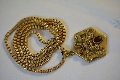 Victorian Art Deco Gold Filled Book-chain Necklace Photo Locket Ruby Red Crystal