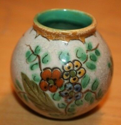 Vintage Royal Gouda Art Pottery Round Vase with Floral Design - Made in Holland