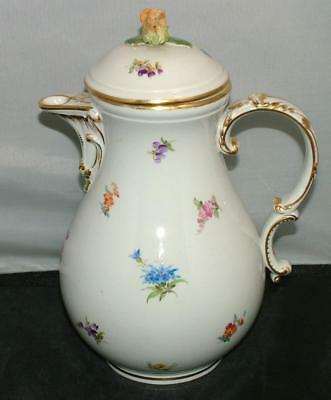 MEISSEN Porcelain 6-Cup Coffee Pot SCATTERED FLOWERS crossed Swords
