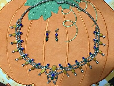 Native American Sterling Squash Blossom Necklace & Drop Earring Set
