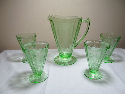 Green Depression Glass Floral Christmas Poinsettia Pitcher Five Footed Tumblers
