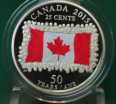 2015 Canada Coloured 25 cent flag quarter - proof finish - from set