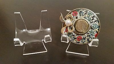 """12 Premium 3"""" Display Stand Easel Brooch Brooches Cameos Rouges Compacts"""