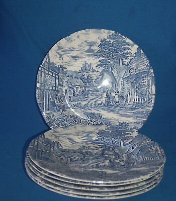 """Set of 6 unmarked blue and white Wedgwood design 10"""" (30cm) dinner plates"""