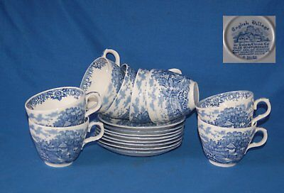 8 Salem China Colonial Villages blue and white duos, cups and saucers