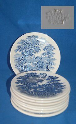 """Set of 6 unmarked rural scene blue and white 4.5"""" (11.5cm) pottery coasters"""