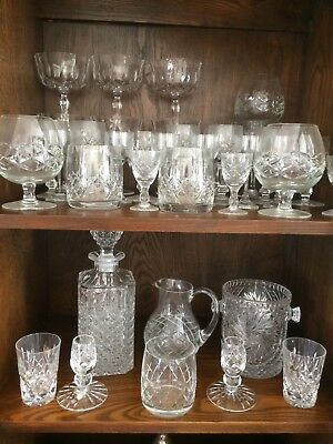 crystal/cut glass collection including vases, decanters and ornaments