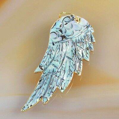 Abalone Shell Carved Wing Slice Pendant Bead Gold Plated T035247
