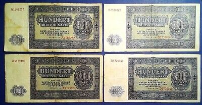 GERMANY: 4 x 100 Mark Banknotes (1948)  - Fine Condition