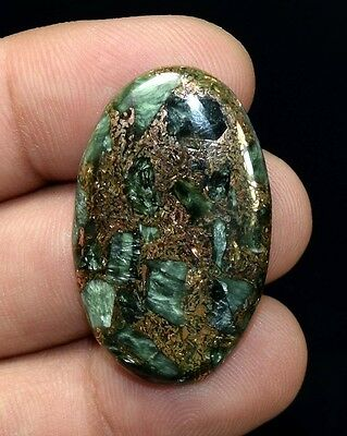 Unusual !  36.65 Cts. Natural Copper Seraphinite Cab For Sterling Silver Pendant