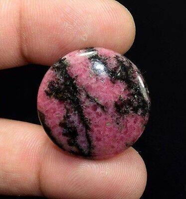 Unique ! 36.00 Cts. 100 % Natural Reddish  Pink  Rhodonite Round Cab Loose Gems