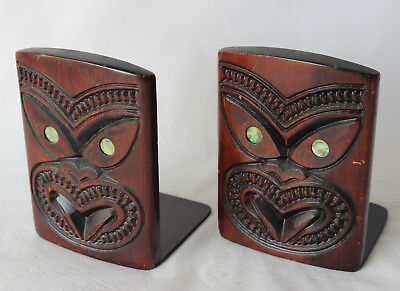 Vintage MAORI TIKI BOOKENDS Carving Face carved New Zealand souviner Paua