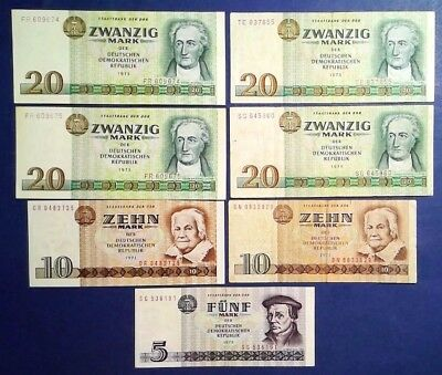 GERMANY: Set of 7 Mark Banknotes (1970's)  - Extremely Fine (2 x 20 Consecutive)