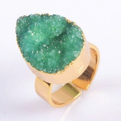 Size 6.5 Green Agate Druzy Geode Adjustable Ring Gold Plated T035257