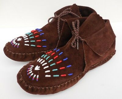 TAOS Vintage Suede Leather BEADED NATIVE AMERICAN Indian Moccasins