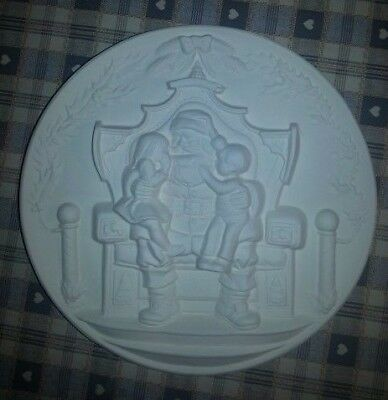 """Ceramic Bisque Father Christmas Plaque 240mm/9.5"""" appx, Ready to paint or glaze."""