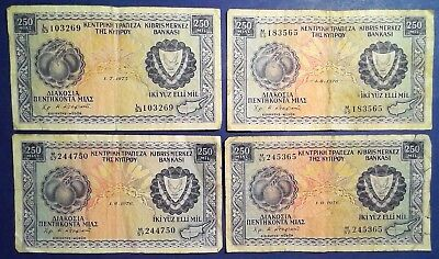 CYPRUS: 4 x 250 MIl Banknotes - Fine Condition