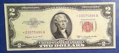 USA: 1 x 2 Dollar Banknotes Red Seal and Star Note - Extremely Fine Condition