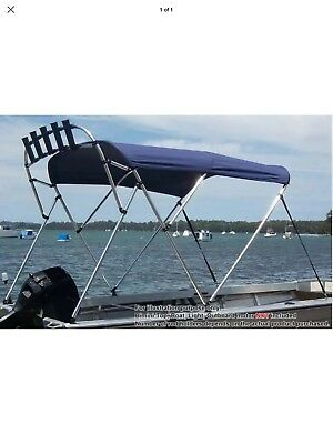 240cm Extra Long 4 Bow 1.9m-2.1m Boat Bimini Top Canopy Cover 130cm height Black