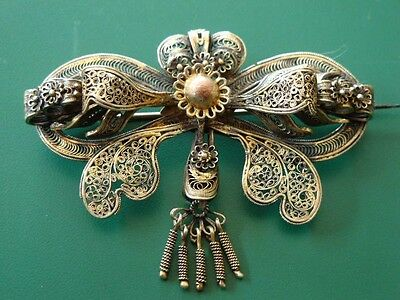 Gorgeous Ottoman brooch made of super thin gilded sterling silver filigree XIXC.