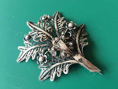 Magnificent Ottoman brooch hand knitted sterling silver filigree from 19th cеn