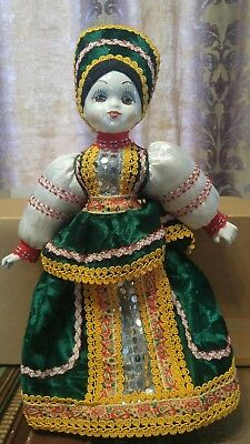 """vintage green yellow Chinese Dutch German doll bisque hand painted 15"""""""