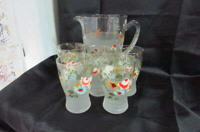 Depression Frosted And Hand Painted Glass Water Set Etherden Glass C.1920's