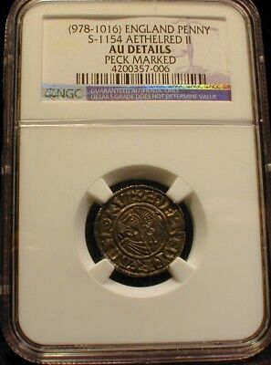978-1016 England Penny S-1154 AETHELRED II AU Details Peck Marked       (ASTZPD)